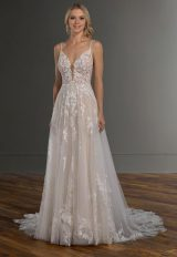 Spaghetti Strap V-neckline Embroidered Lace A-line Wedding Dress by Martina Liana - Image 1