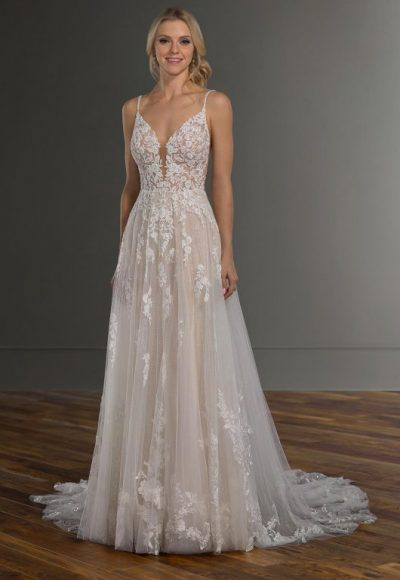 Spaghetti Strap V-neckline Embroidered Lace A-line Wedding Dress by Martina Liana