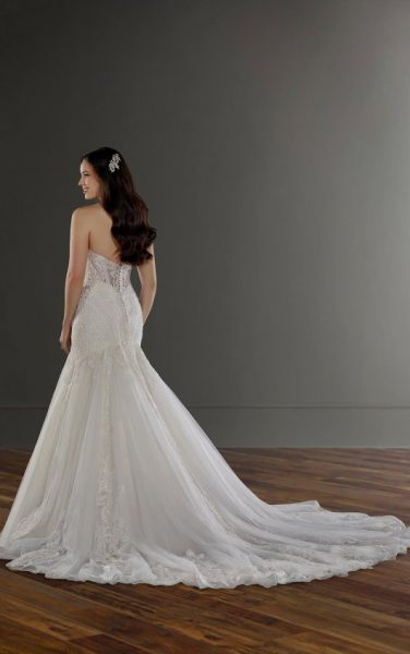 Strapless Sweetheart Embroidered Lace Mermaid Wedding Dress by Martina Liana - Image 2