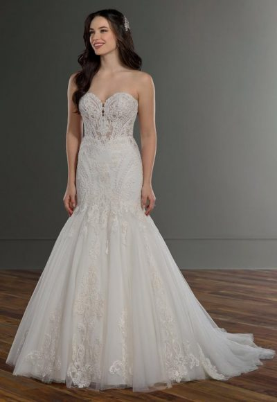 Strapless Sweetheart Embroidered Lace Mermaid Wedding Dress by Martina Liana