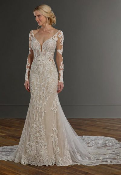 V-neckline Long Sleeve Embroidered Fit And Flare Wedding Dress by Martina Liana