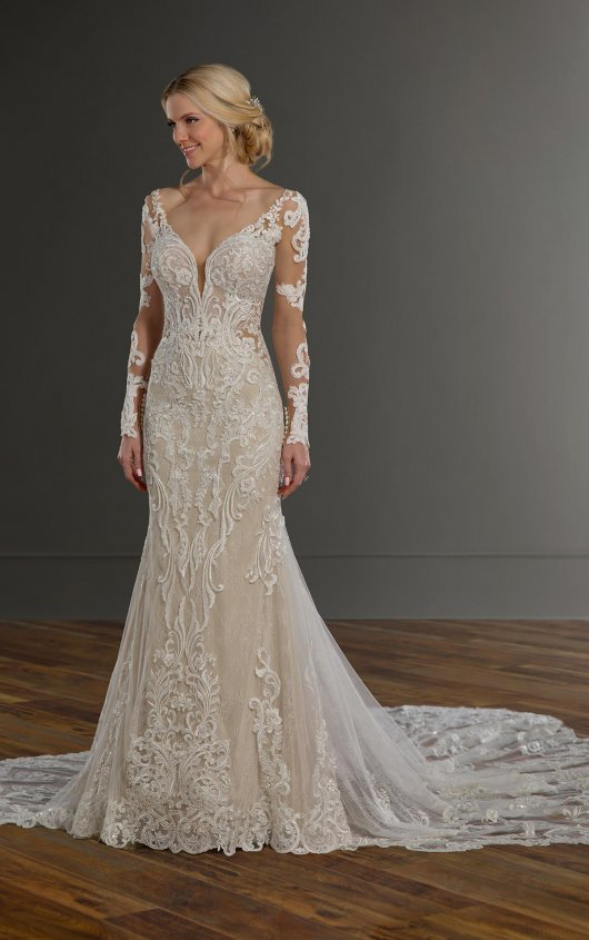 V-neckline Long Sleeve Embroidered Fit And Flare Wedding Dress by Martina Liana - Image 1