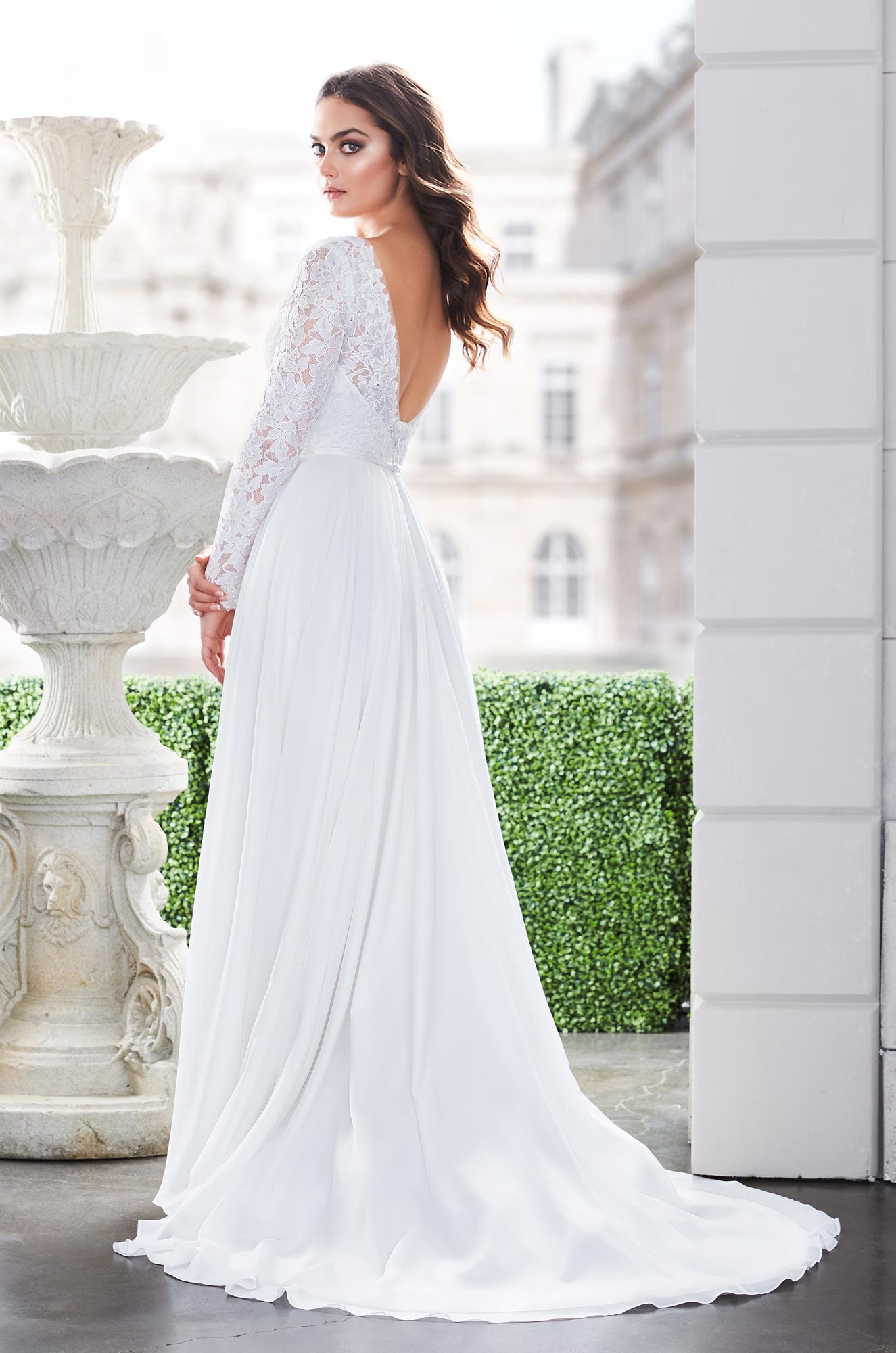 Long Sleeve V Neckline A Line Wedding Dress With Lace