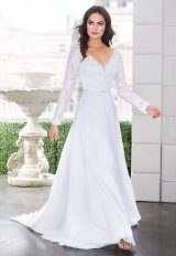 Long Sleeve V-neckline A-line Wedding Dress With Lace Bodice by Paloma Blanca - Image 1