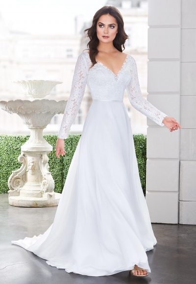 Long Sleeve V-neckline A-line Wedding Dress With Lace Bodice by Paloma Blanca