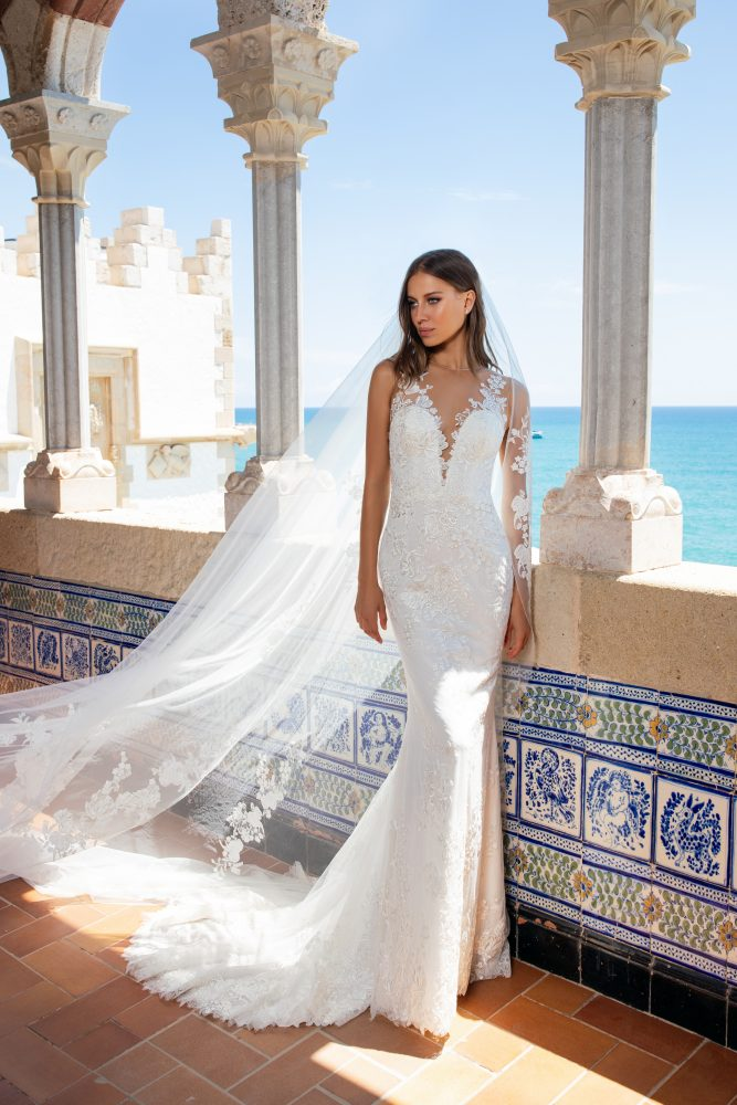 Illusion Neckline Embroidered Floral Lace Sheath Wedding Dress by Pronovias x Kleinfeld - Image 1