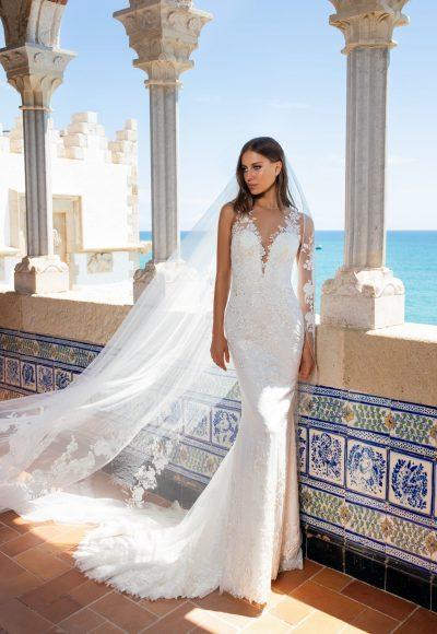 Illusion Neckline Embroidered Floral Lace Sheath Wedding Dress by Pronovias x Kleinfeld