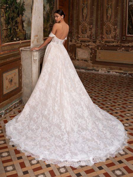 Off-the-shoulder Chantilly Lace Deep V-neckline A-line Wedding Dress by Pronovias - Image 2