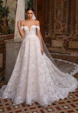 Off-the-shoulder Chantilly Lace Deep V-neckline A-line Wedding Dress by Pronovias - Image 1