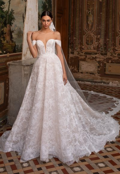 Off-the-shoulder Chantilly Lace Deep V-neckline A-line Wedding Dress by Pronovias