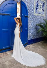 Sleeveless Deep V-neckline Crepe Sheath Wedding Dress With Lace Inserts by Pronovias x Kleinfeld - Image 2