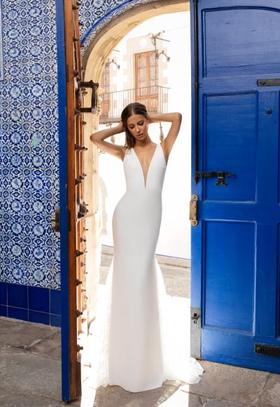 Sleeveless Deep V-neckline Crepe Sheath Wedding Dress With Lace Inserts by Pronovias x Kleinfeld