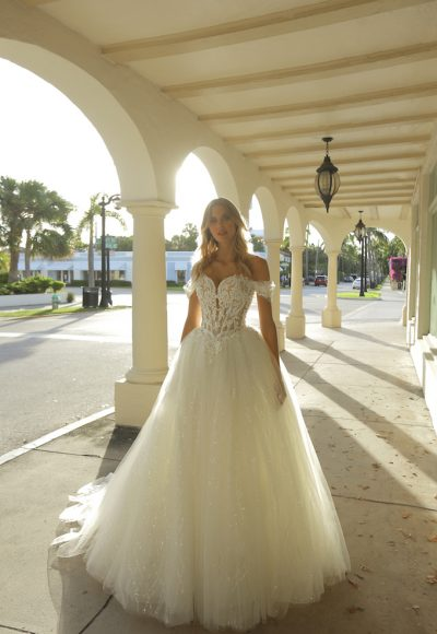 Off-the-shoulder Sweetheart Neckline Ball Gown Wedding Dress With Basque Waist And Beading by Randy Fenoli