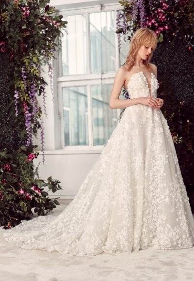 Floral Lace Embroidered Strapless Ball Gown Wedding Dress With Plunging V-neckline by Rivini
