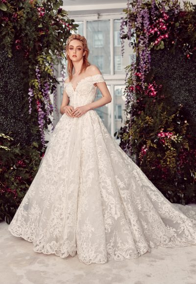 Off-the-shoulder Lace Ball Gown Wedding Dress With Corset Bodice by Rivini