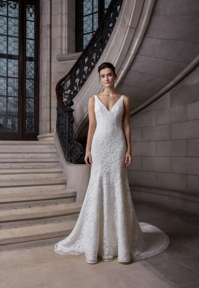 Sleeveless V-neckline Floral Lace Fit And Flare Wedding Dress by Sareh Nouri
