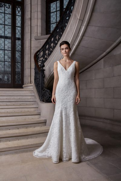 Sleeveless V-neckline Floral Lace Fit And Flare Wedding Dress by Sareh Nouri - Image 1