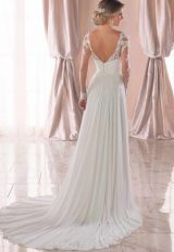 Illusion Long Sleeve V-neckline Sheath Wedding Dress With Beading by Stella York - Image 2