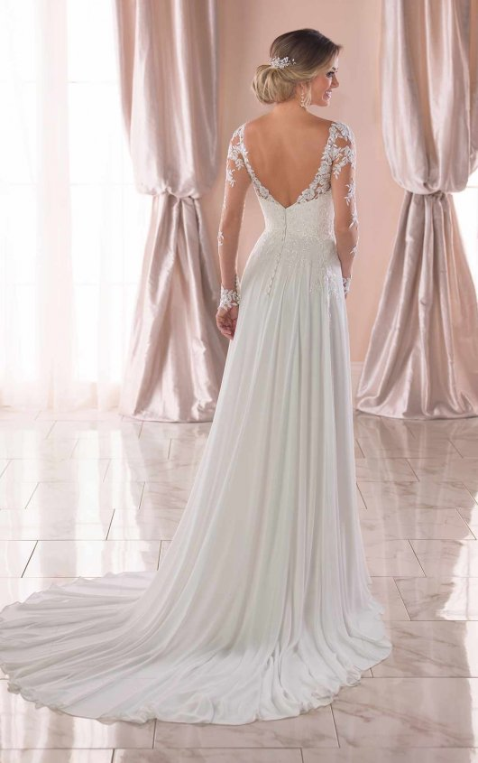 Illusion Long Sleeve V-neckline Sheath Wedding Dress With Beading by Stella York - Image 2