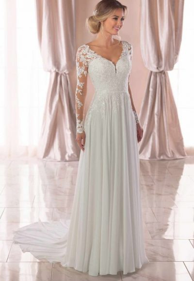 Illusion Long Sleeve V-neckline Sheath Wedding Dress With Beading by Stella York