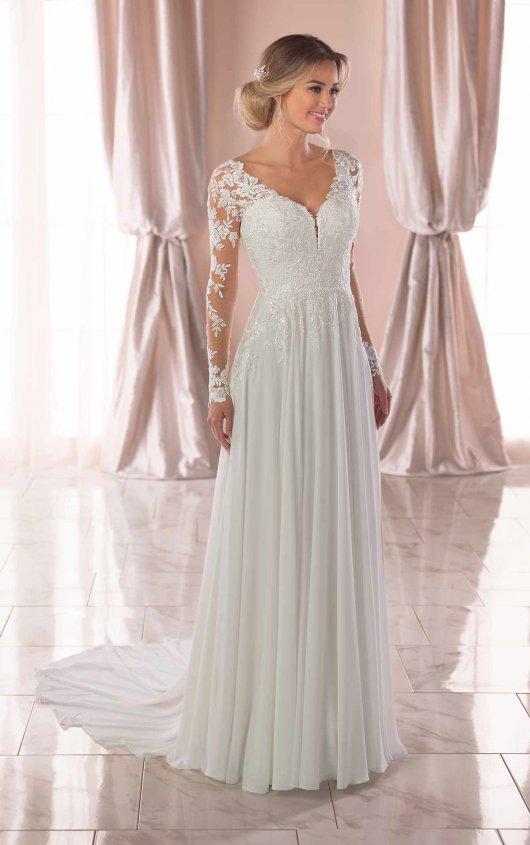 Illusion Long Sleeve V-neckline Sheath Wedding Dress With Beading by Stella York - Image 1