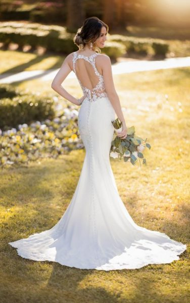 Sleeveless Illusion Neckline Crepe Mermaid Wedding Dress With Floral Lace by Stella York - Image 2