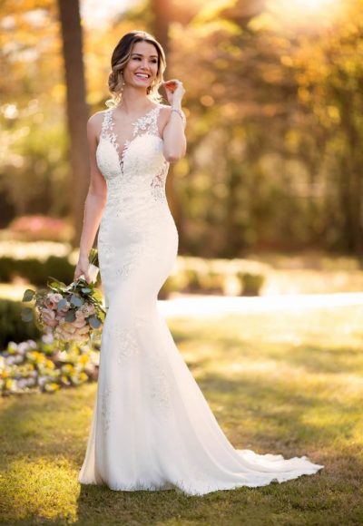 Sleeveless Illusion Neckline Crepe Mermaid Wedding Dress With Floral Lace by Stella York