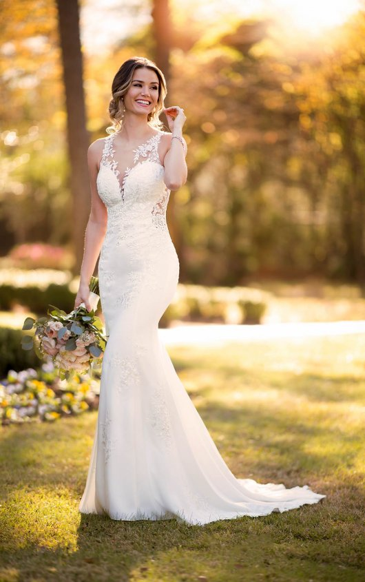 Sleeveless Illusion Neckline Crepe Mermaid Wedding Dress With Floral Lace by Stella York - Image 1
