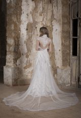 High Neck Silver Lace Embroidered Sheath Wedding Dress by Tony Ward - Image 2