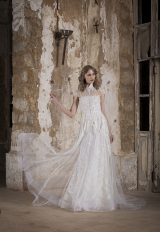 High Neck Silver Lace Embroidered Sheath Wedding Dress by Tony Ward - Image 1