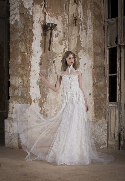 High Neck Silver Lace Embroidered Sheath Wedding Dress by Tony Ward