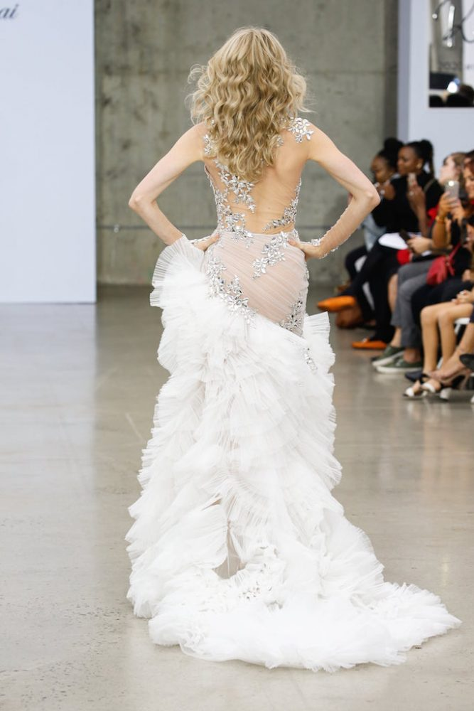 Sheer Nude Illusion Sheath Wedding Dress With Mirror Crystal Appliqué And Tulle Plisse Skirt by Pnina Tornai - Image 2