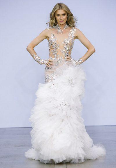 Sheer Nude Illusion Sheath Wedding Dress With Mirror Crystal Appliqué And Tulle Plisse Skirt by Pnina Tornai