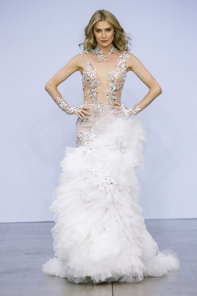 Sheer Nude Illusion Sheath Wedding Dress With Mirror Crystal Appliqué And Tulle Plisse Skirt by Pnina Tornai - Image 1