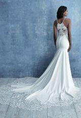High Neck Sleeveless Sheath Wedding Dress Beaded Bodice by Allure Bridals - Image 2