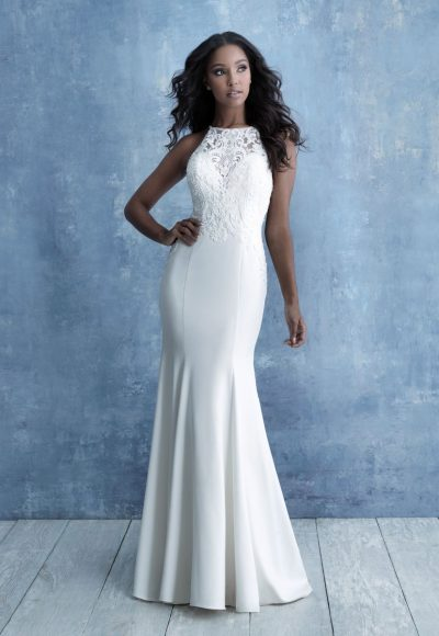 High Neck Sleeveless Sheath Wedding Dress Beaded Bodice by Allure Bridals