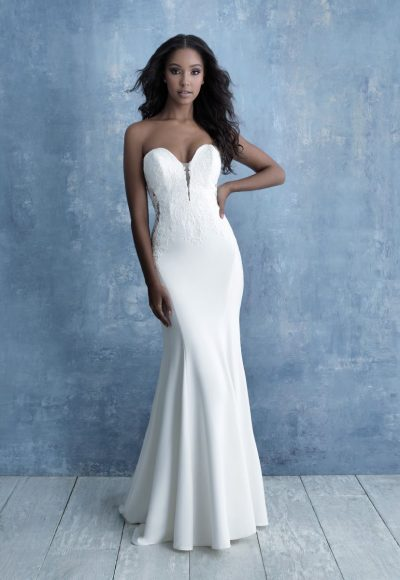 Strapless Sweetheart Sheath Wedding Dress With Lace Details by Allure Bridals