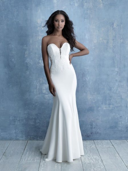Strapless Sweetheart Sheath Wedding Dress With Lace Details by Allure Bridals - Image 1