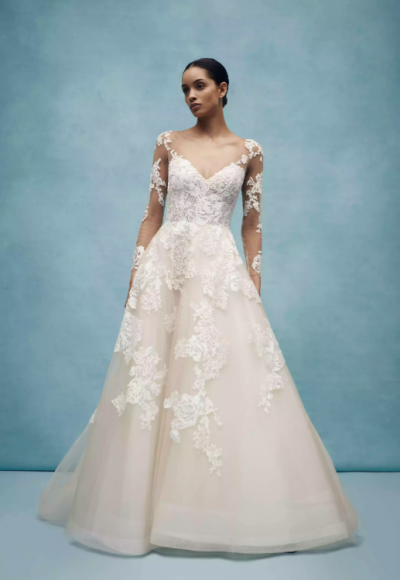 Long Sleeve V-Neck Ballgown Wedding Dress Illusion Lace Sleeves by Anne Barge