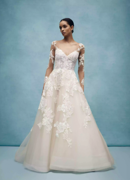 Long Sleeve V-Neck Ballgown Wedding Dress Illusion Lace Sleeves by Anne Barge - Image 1