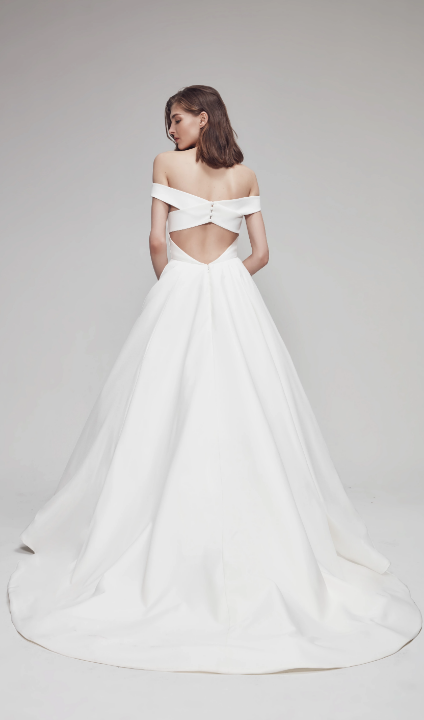 Off The Shoulder Sweetheart Ballgown Wedding Dress With Criss-Cross Back by Anne Barge - Image 2