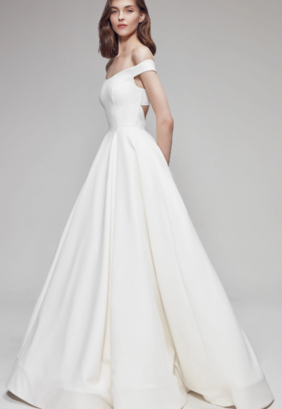 Off The Shoulder Sweetheart Ballgown Wedding Dress With Criss-Cross Back by Anne Barge