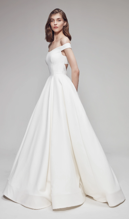 Off The Shoulder Sweetheart Ballgown Wedding Dress With Criss-Cross Back by Anne Barge - Image 1