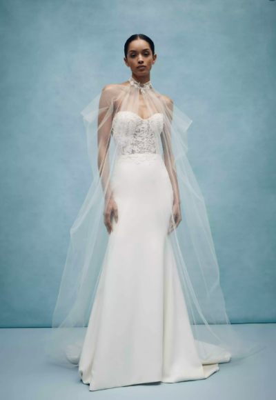 Strapless Sweetheart Sheath Wedding Dress With Rose Embroidered Appliques by Anne Barge