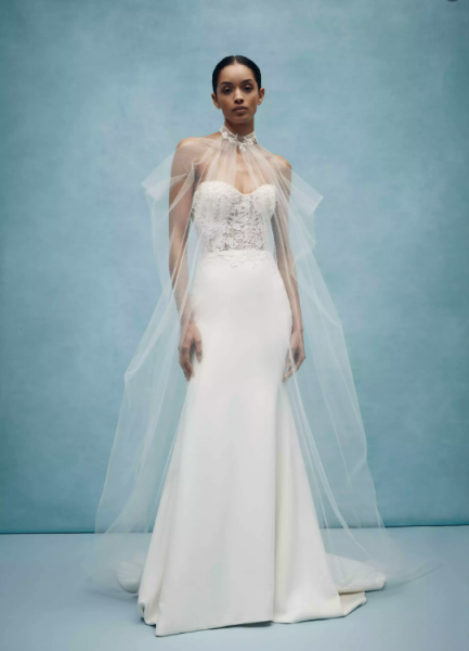 Strapless Sweetheart Sheath Wedding Dress With Rose Embroidered Appliques by Anne Barge - Image 1