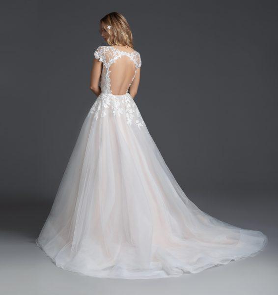 Cap Sleeve V-neckline A-line Wedding Dress With Floral Embroidery by BLUSH by Hayley Paige - Image 2
