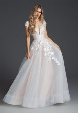 Cap Sleeve V-neckline A-line Wedding Dress With Floral Embroidery by BLUSH by Hayley Paige - Image 1