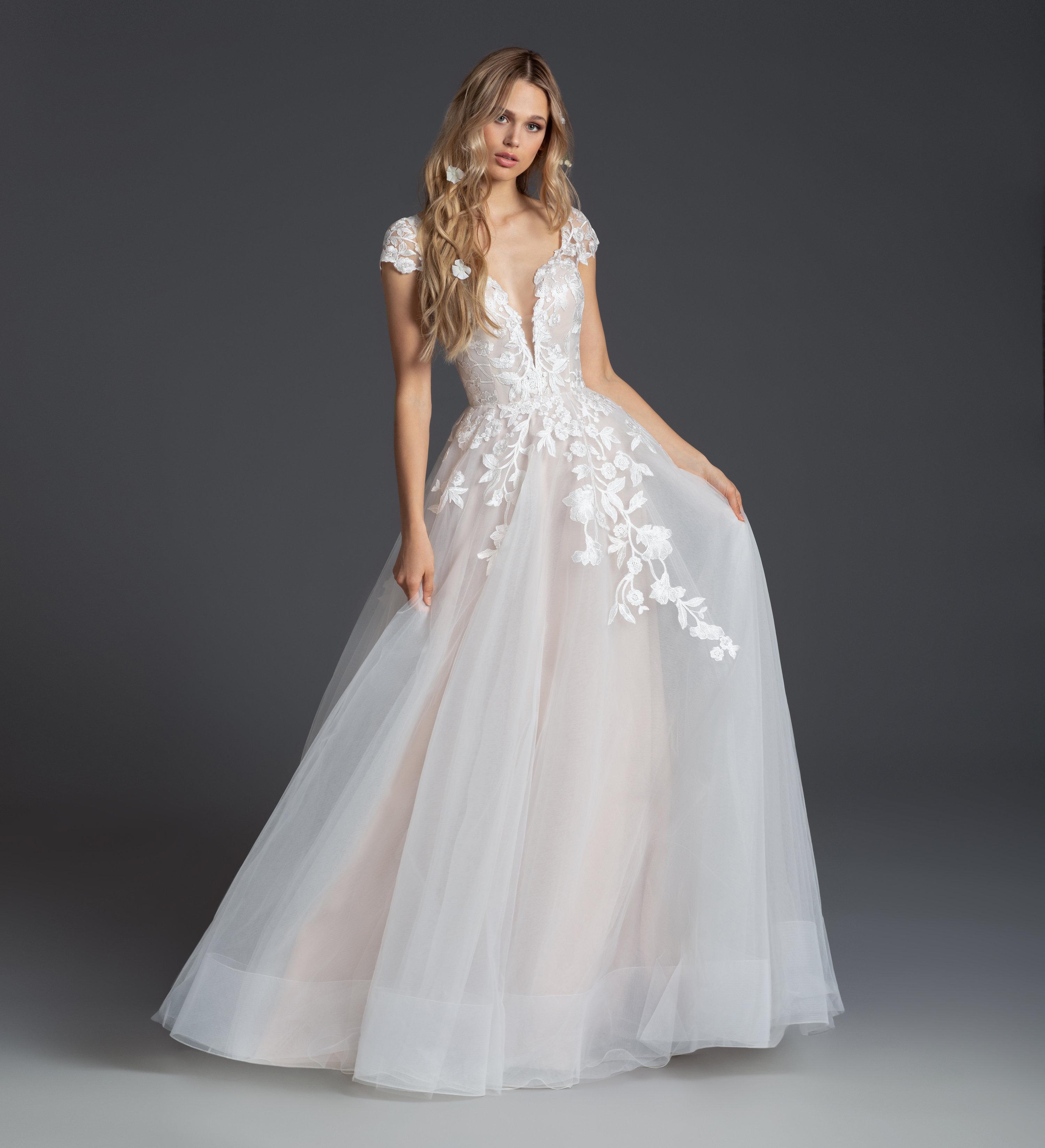 Cap Sleeve V-neckline A-line Wedding Dress With Floral