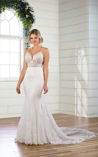 Spaghetti Strap V-neckline Embroidered Lace Fit And Flare Wedding Dress by Essense of Australia - Image 1