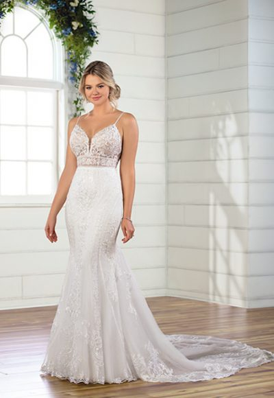 Spaghetti Strap V-neckline Embroidered Lace Fit And Flare Wedding Dress by Essense of Australia